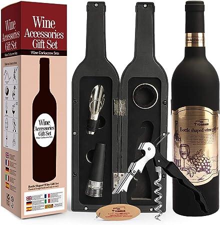 Compra Yobansa Accesorios de Vino en Forma de Botella de Vino Juego de Regalo, Juego de abridor de Vino - Incluye sacacorchos, Tapones de Vino, vertedor de Vino y Anillo de Vino (