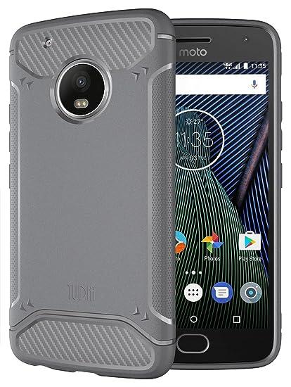 new styles 7554b fb1fa Moto G5 Plus Case, TUDIA Carbon Fiber Design Lightweight [TAMM] TPU Bumper  Shock Absorption Case for Motorola Moto G5 Plus (Gray)
