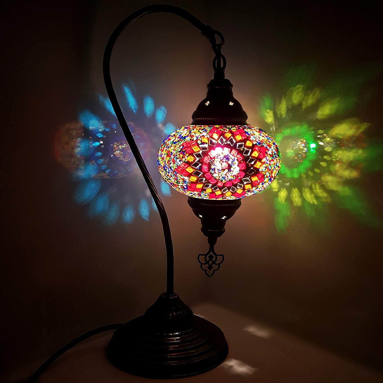 Turkish Lamp/Moroccan Lamp Tiffany Style Glass Desk Table Lamp - MC-A2 17cm