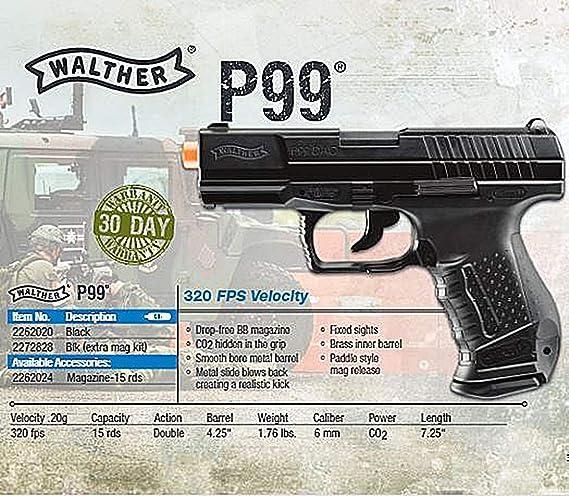 Amazon com : Walther P99 Blowback 6mm BB Pistol Airsoft Gun