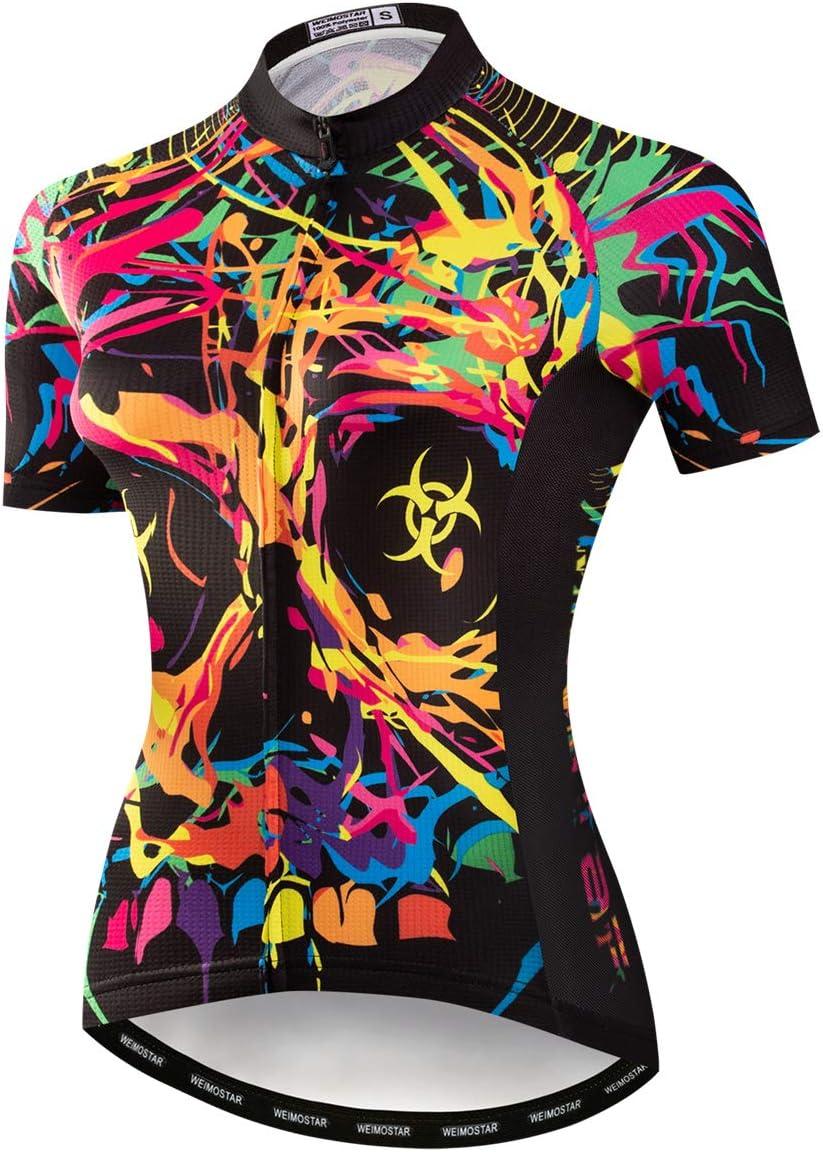 Weimostar Radtrikot Damen-Mountainbike-Jersey-Zip-Shirts