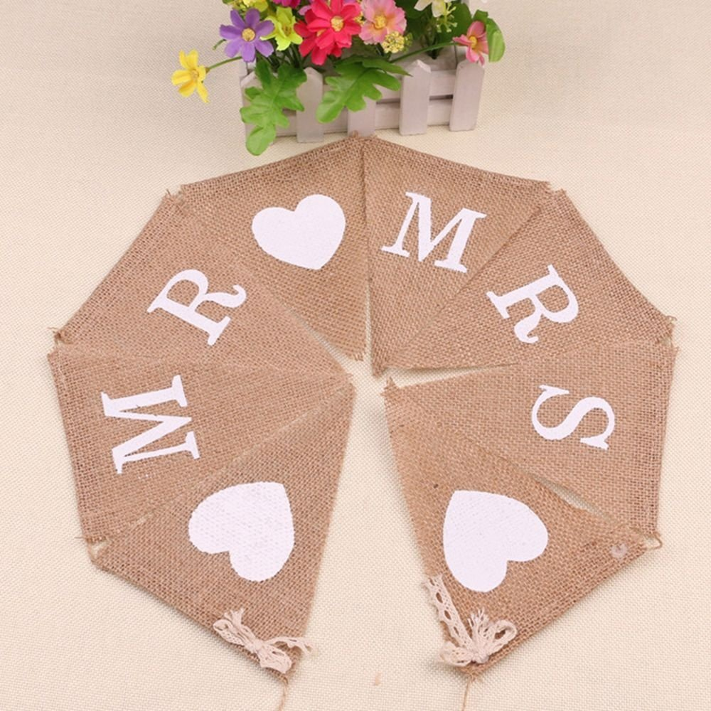 Hessian Mr Mrs Bunting Banner Vintage Burlap with 1 Meter Rustic Ribbon for Bridal Shower Bachelorette Wedding Party Favors