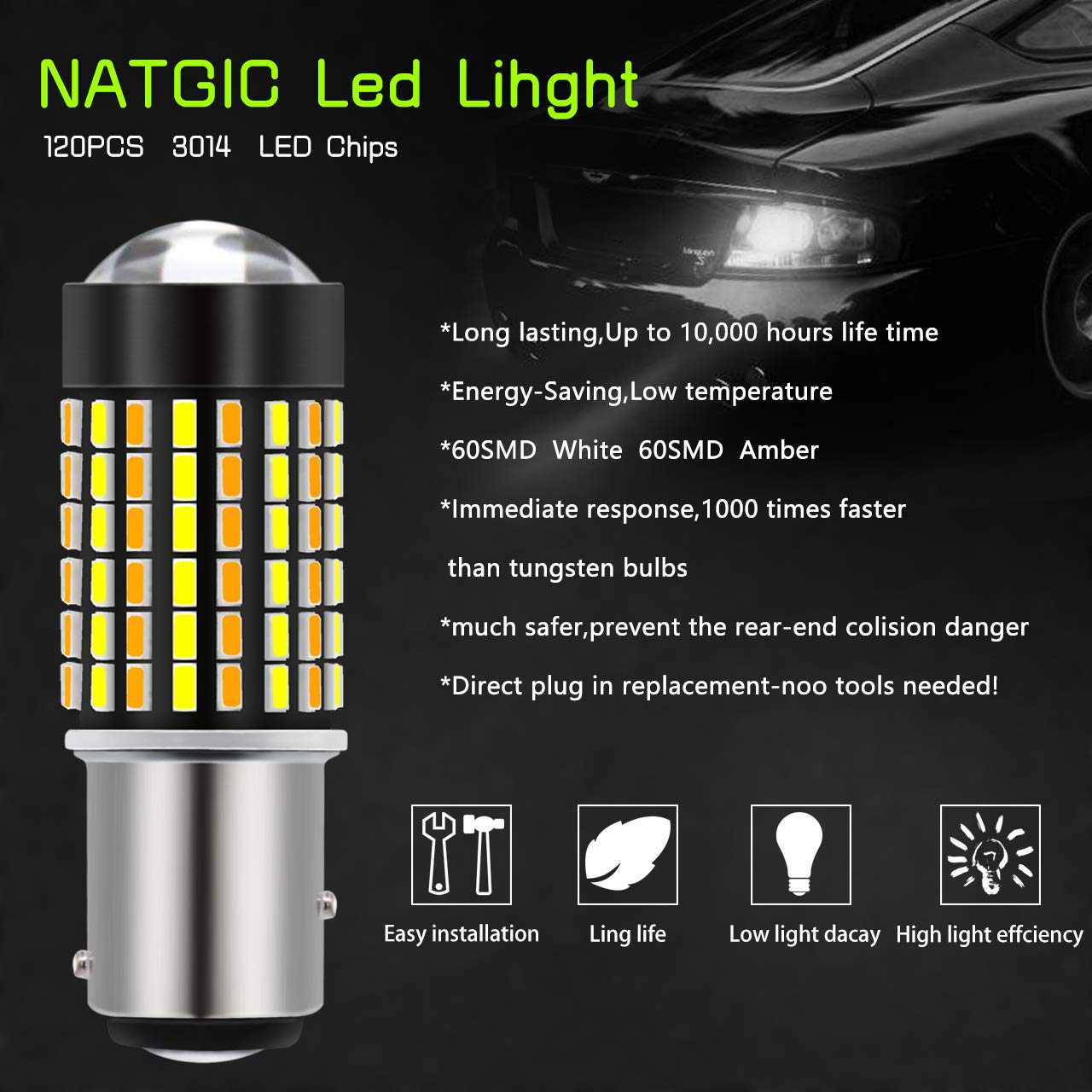 NATGIC 1157 BAY15D LED Bulb 6500K 800LM 3014 120-SMD Dual Color White//Amber Canbus Error Free for Switchback Turn Signal Light with 50W 8ohm Load Resistors 2PCS Led Bulb + 2PCS Load Resistors