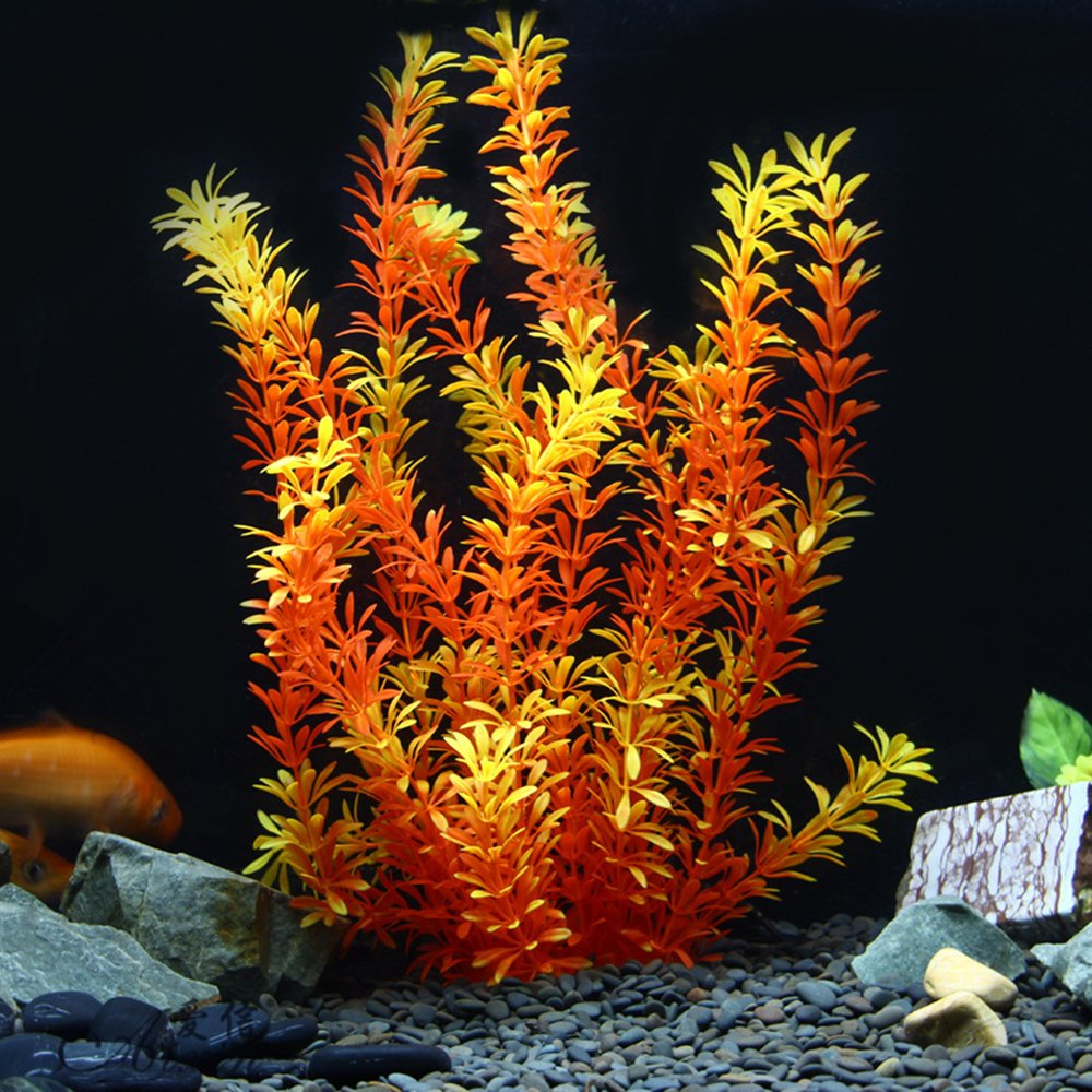 OWIKAR Aquarium Plants High Imitation Aquatic Plants Yellow Lifelike Stratified Fish Tank Artificial Decor Landscape Plastic Water Plants 11.8inch 15.7inch 19.7inch Large Size (50cm/19.7inch) by OWIKAR (Image #1)