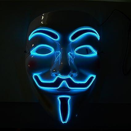 Máscara Knaclean V Máscara de iluminación LED Máscara Halloween Traje de máscara de disfraces