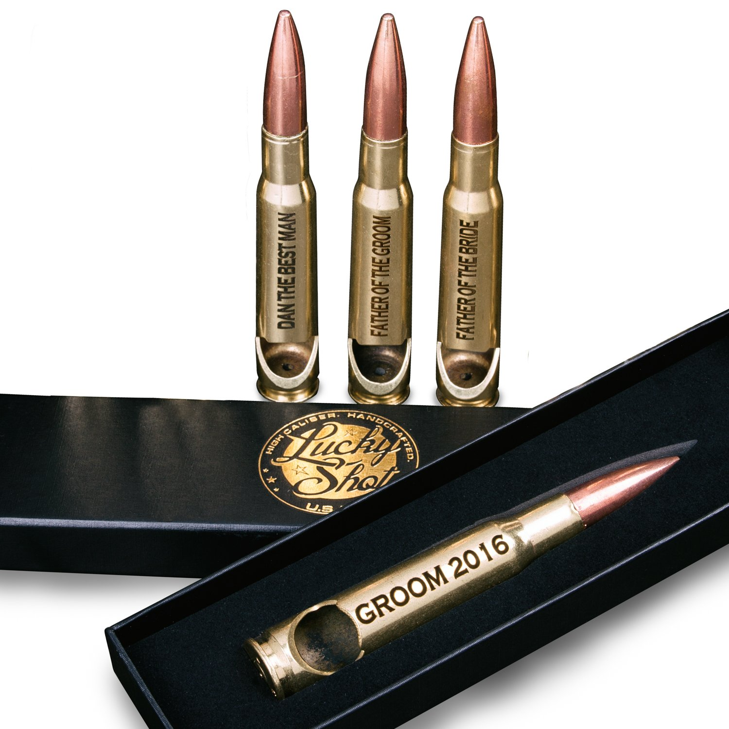 Groomsmen Set of 4 Personalized 50 Caliber BMG Bullet Bottle Openers in Brass with Gift Boxes