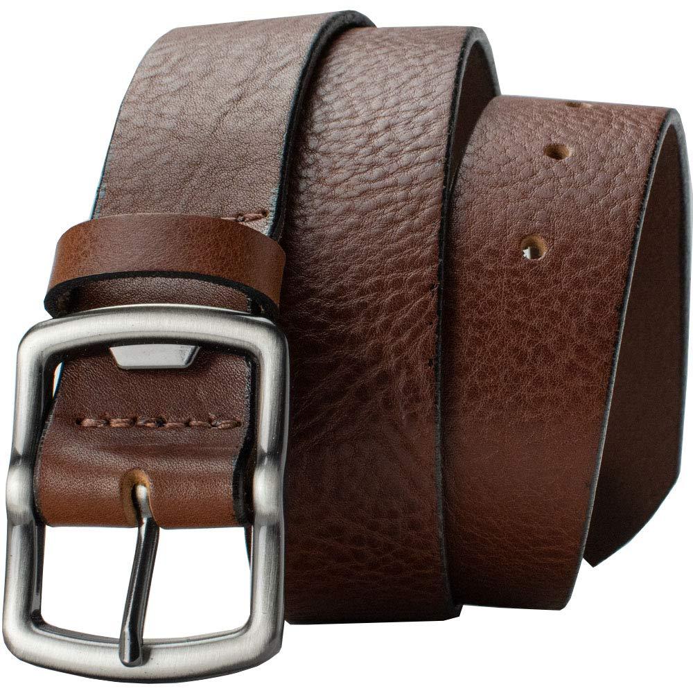 Rocky River Brown Belt Nickel Smart Genuine Full Grain Leather Belt with Nickel Free Zinc Bottle Opener Buckle