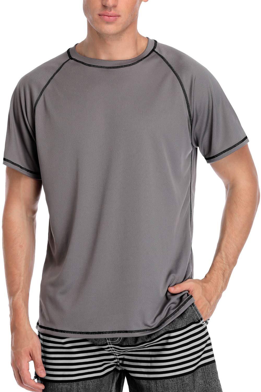 V FOR CITY Mens Rash Guard Swim Top Loose Fit Swim Shirt UPF 50 Sun Suit Surf Top Gray L by V FOR CITY