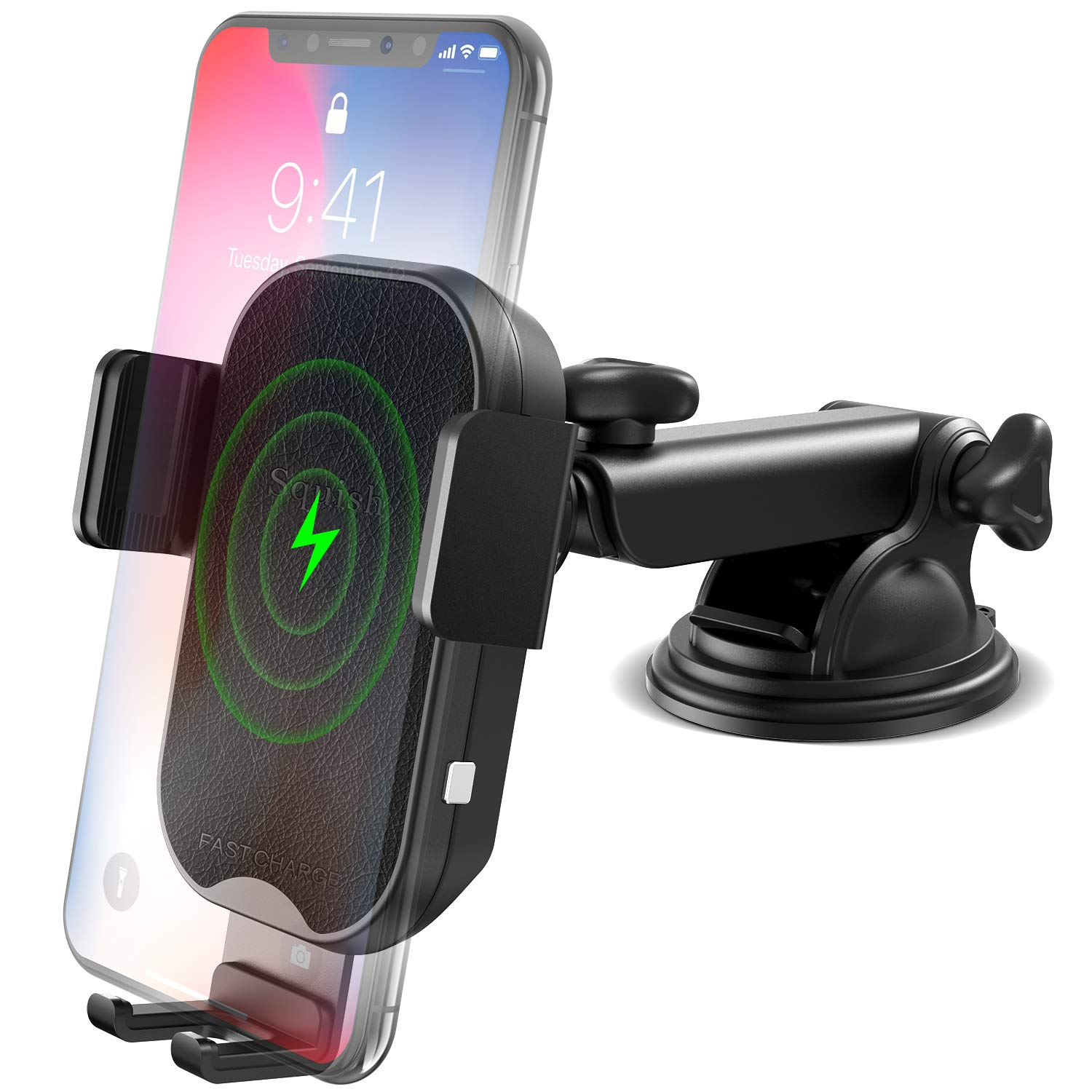 Wireless Car Charger Mount, Squish 10W 7.5W Qi Fast Wireless Charger Car Phone Holder, Auto Clamping Car Mount for Dashboard Windshield Compatible with iPhone Xs Max/XS/XR/X/8/8+ Samsung S9/S9+/S8/S8+