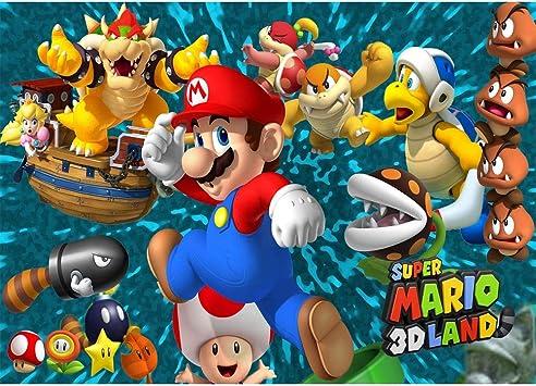 Amazon Com Super Mario Backdrop 7x5 Cartoon Birthday Background Seamless Photography Backdrops Kids Birthday Party Wall Decor Personalized Name Baby Shower Photo