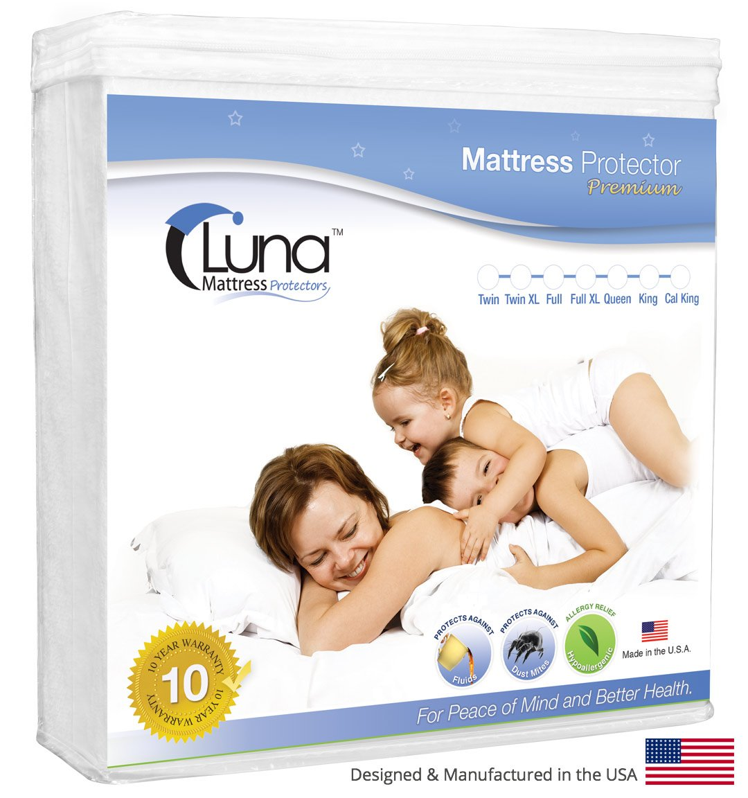Twin Size Luna Premium Hypoallergenic Waterproof Mattress Protector Vinyl Free Luna Mattress Protectors lmptwin01 Made in the USA