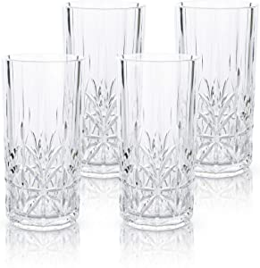 Myrtle Beach Tall Tumbler, Clear, 18oz, Set of 4 Shatterproof Dishwasher safe Tritan Plastic Tumblers - Unbreakable Glassware for Indoor and Outdoor Use - Reusable Drinkware, BPA Free