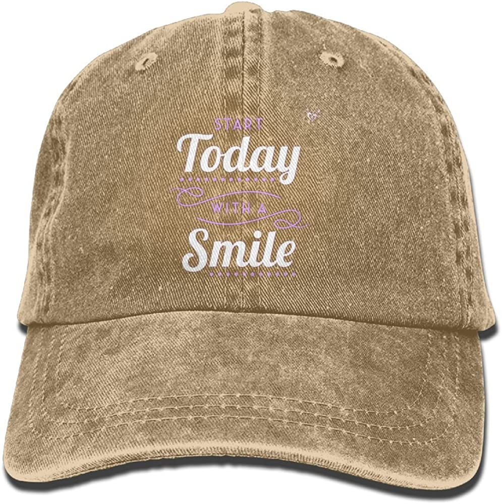 Unique Mens Start with Smile Sports Adjustable Structured Baseball Cowboy Hat