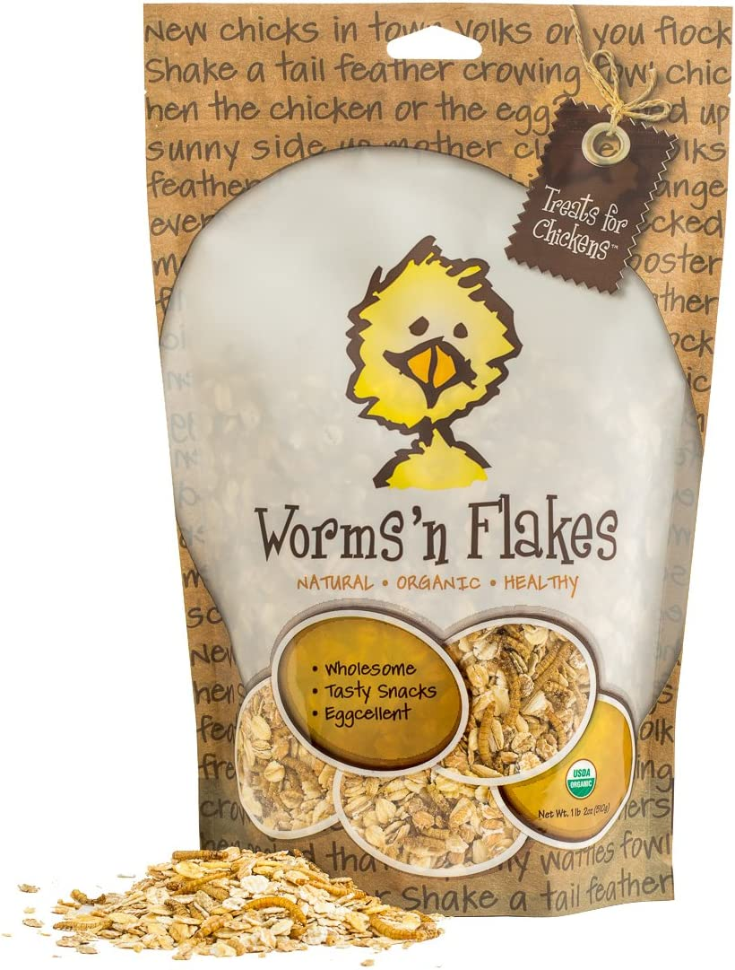 1-Pound 13 Oz Treats For Chickens Certified Organic Worms N Flakes Treat