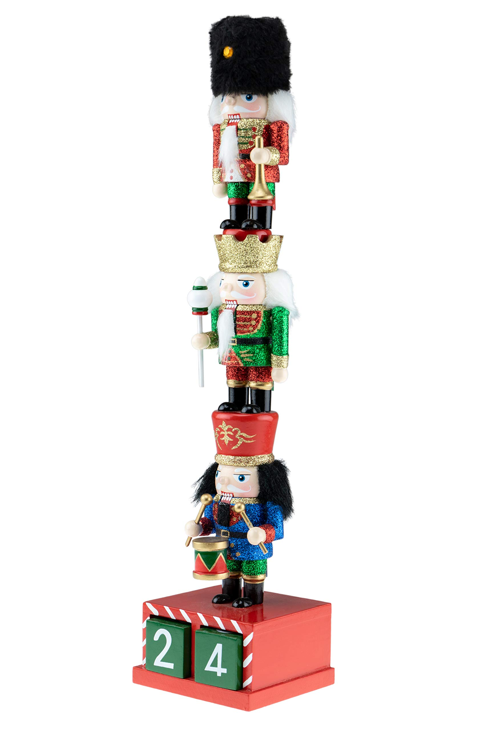 Clever Creations Wooden Stacked Chubby Nuctrackers with Countdown Calendar | Three Traditional Unique Mini Nutcrackers Stacked | Festive Christmas Decor | 14'' Tall Great for Any Holiday Collection