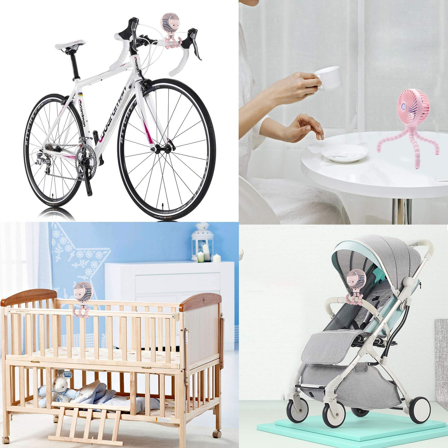 Personal Stroller Fan, Vatemax Portable Baby Fan, Handheld 3 Speeds Rechargeable USB Baby Buggy Fan with Flexible Tripod for Office/Room/Camping/Traveling/BBQ/Gym