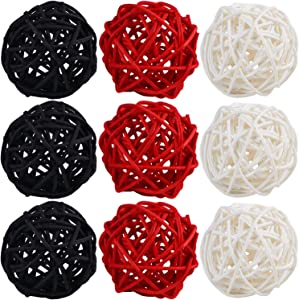 STMK 9 Pcs 3 Inch Wicker Balls Decorations, Rattan Balls Decorative for Home Decor DIY Vase Bowl Filler Ornament Baby Room Nursery Décor Wedding Table Decoration (Black, Red, White)