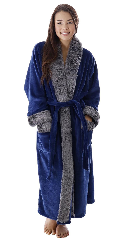 bluee BURKLETT Luxury Faux Fur Trim Velvet Fleece Long Bath Robe with Pocket