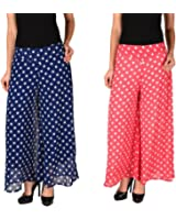 2DAY's Women Stylish Georgette Plazzo Blue Polka and Pink Polka (Pack of 2)