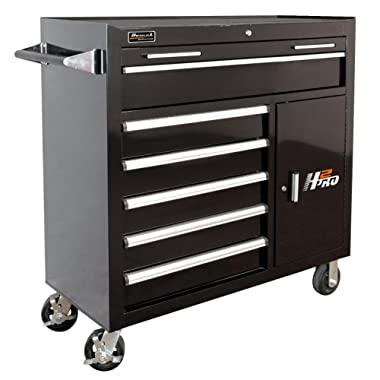 Homak H2PRO Series 41-Inch 6-Drawer with 2-Drawer Compartment Roller, Black, BK04041062