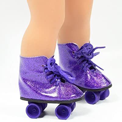 Purple Glitter Roller Skates for 18 Inch Dolls - Roller Skates for American Girl Dolls - The Cutest Doll Shoes and Doll Accessories: Toys & Games