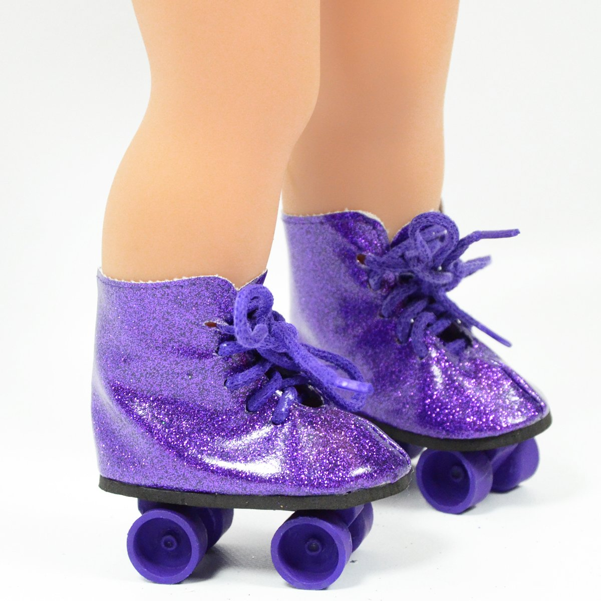 Roller Skates for American Girl Dolls The Cutest Doll Shoes and Doll Accessories The New York Doll Collection Purple Glitter Roller Skates for 18 Inch Dolls