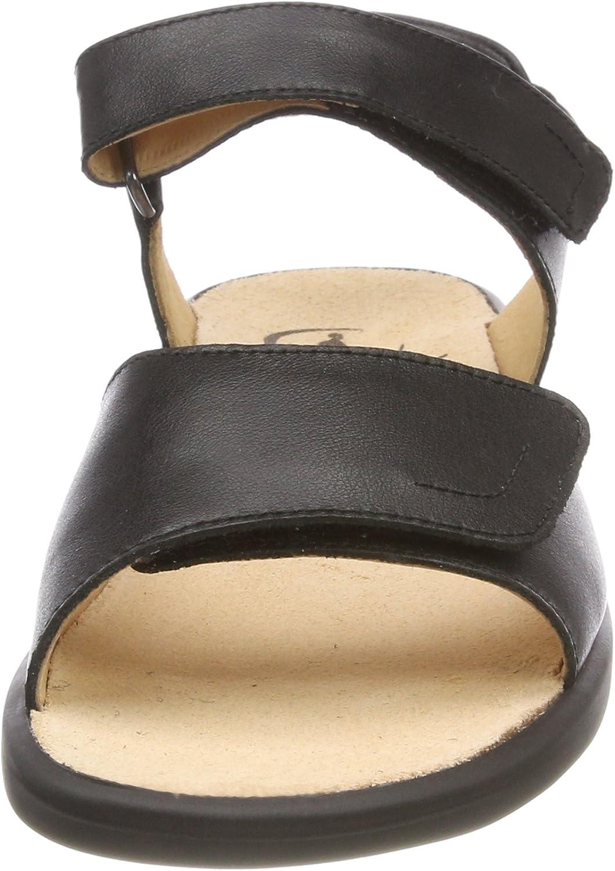 Lange dames Sonnica-e open sandalen zwart.