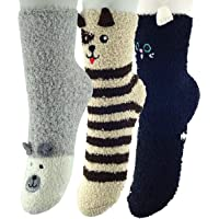 K MASANIJI Womens Winter Warm 3D Cute Animal Socks with Anti-slip Grippers Fluffy Fuzzy Sleeping Socks Free Size 3 Pack