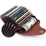 Echt Leder Kredit- und Visitenkartenetui mit 15 Fächer, Kartenetui Scheckkartenetui Kartenmäppchen Kreditkartenmäppchen für Herren und Damen, Braun