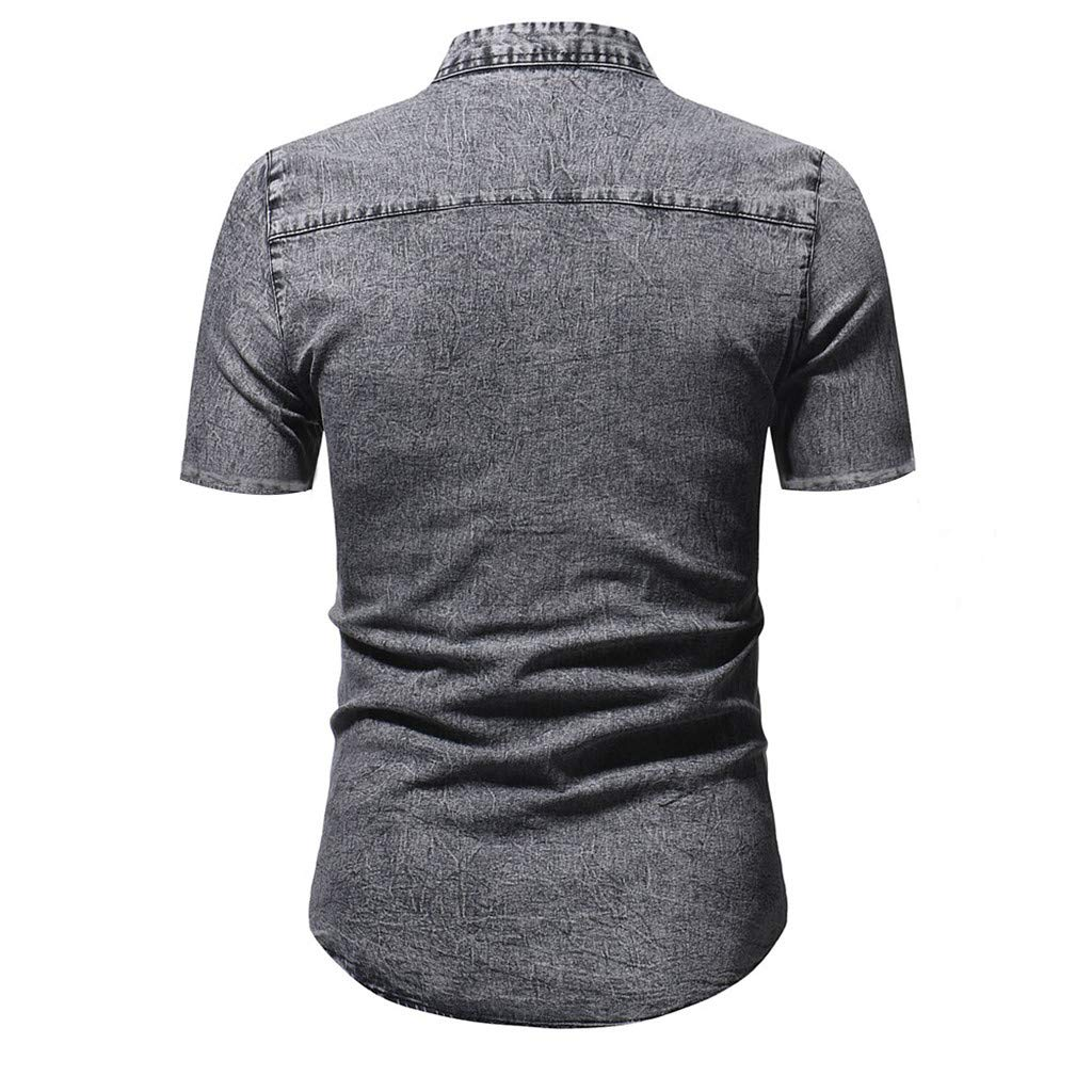 Allywit-Mens Casual Slim Fit Button Shirt Standing Collar with Pocket Cotton Denim Short Sleeve Tops Blouse