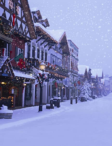 photography backdrops winter snow street city building house with christmas decoration festive outdoor photo shoot background - Christmas City Studios