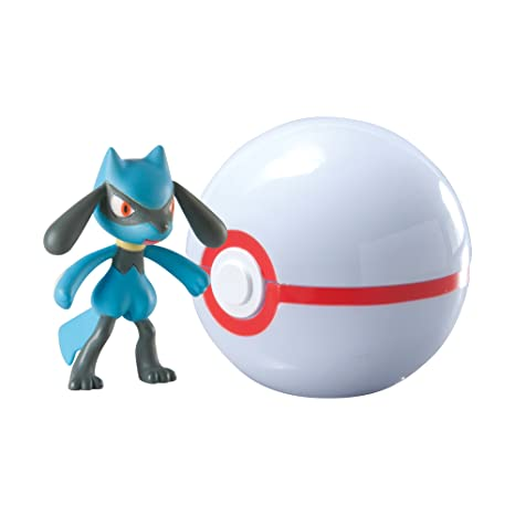 amazon com tomy pokémon clip and carry poké ball riolu and premier
