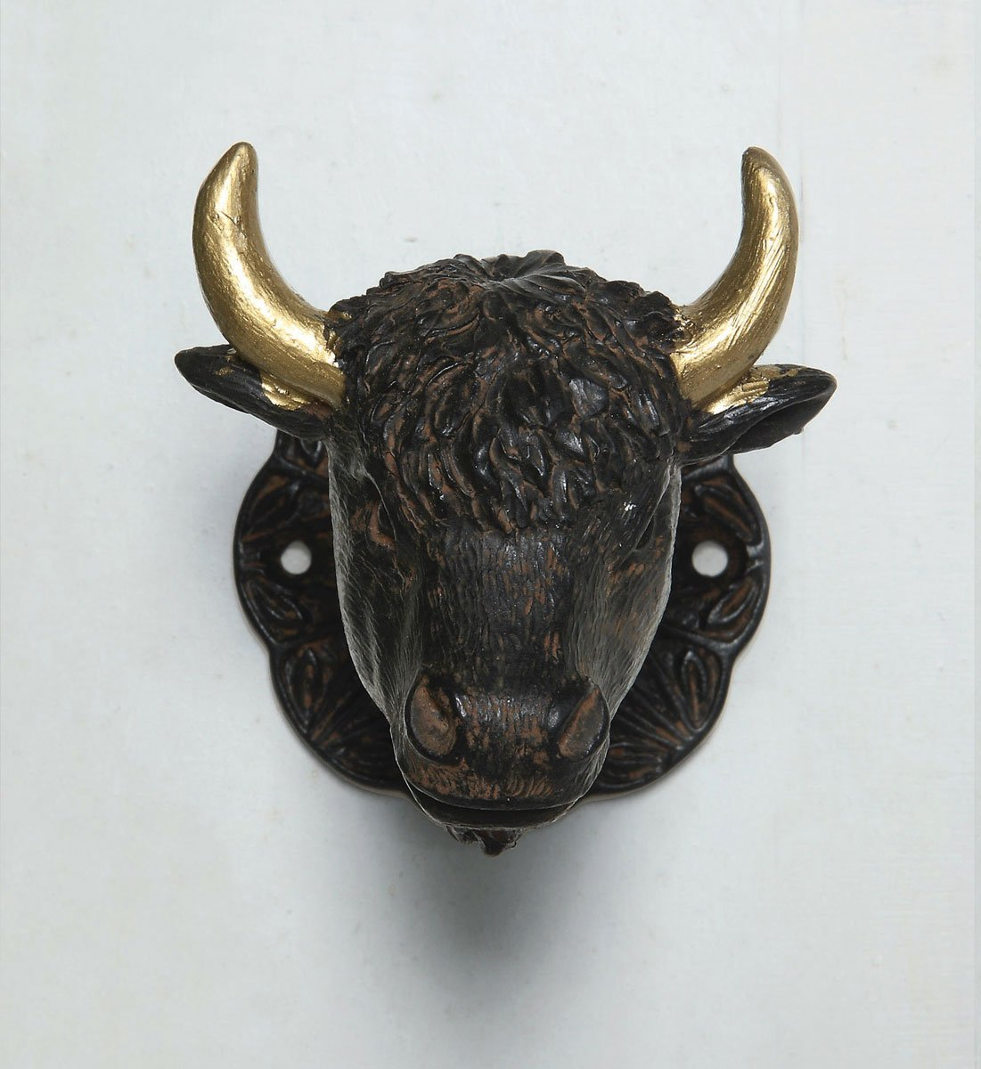 Pewter & Resin Buffalo Head Door Knob Set - Distressed Rust & Antiqued Gold Finish
