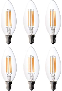 Bioluz LED 40W Filament Candelabra Bulb, E12 Base High Efficiency LED Candle Bulbs, UL