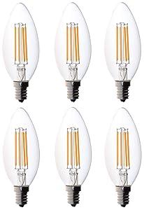 6-Pack Bioluz LED™ Filament Candelabra Clear LED Bulbs, E12 Base, C37 High Efficiency, 360 LED Candle Bulbs, Pack of 6