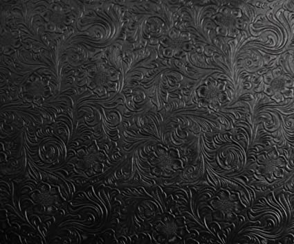Amazon Com Black Western Embossed Floral Faux Leather Vinyl