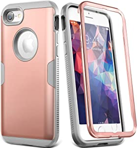 YOUMAKER Designed for iPhone 8 Case & iPhone 7 Case, Full Body Rugged with Built-in Screen Protector Heavy Duty Protection Slim Fit Shockproof Cover for Apple iPhone 8 (2017) 4.7 Inch - Rose/Grey