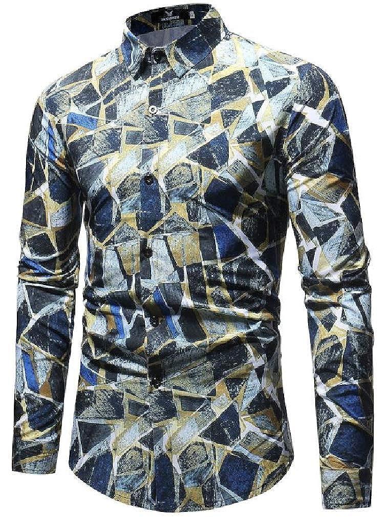 Sweatwater Men Hip Hop Print Lapel Neck Long Sleeve Curved Hem Button Down Shirts