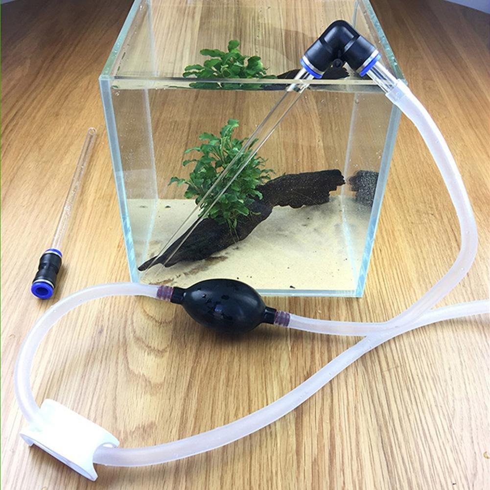 Fish Tank Sifón Acuario Bomba de mano Limpiador de grava agua cambiador arena lavado rápido desagüe herramientas ventosa tubo cambiador de pies Comaie®