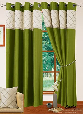 Green Curtains cream green curtains : LIVINGROOM BEDROOM LIME GREEN CREAM RING-TOP EYELET LINED CURTAINS ...