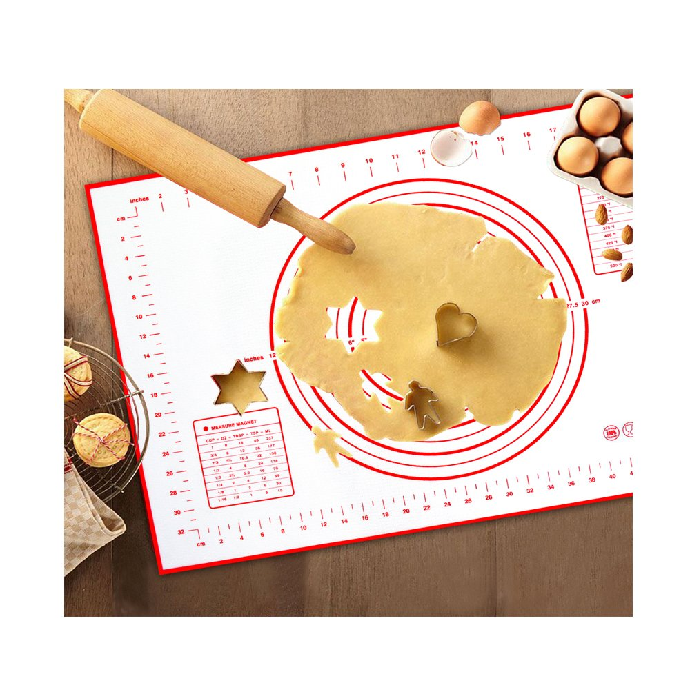 Xixihaha Silicone Baking Rolling Pastry Mat with Measurements Non-Stick&Non-Slip Professional Size 23.62 x 15.74 FDA Approved for Kitchen Cooking Recipes & Desserts(Red)