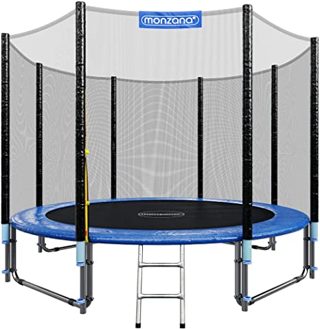 Monzana Trampolín de 305 cm cama elástica negro y azul con red de seguridad y escalera juego deporte exterior jardín: Amazon.es: Deportes y aire libre