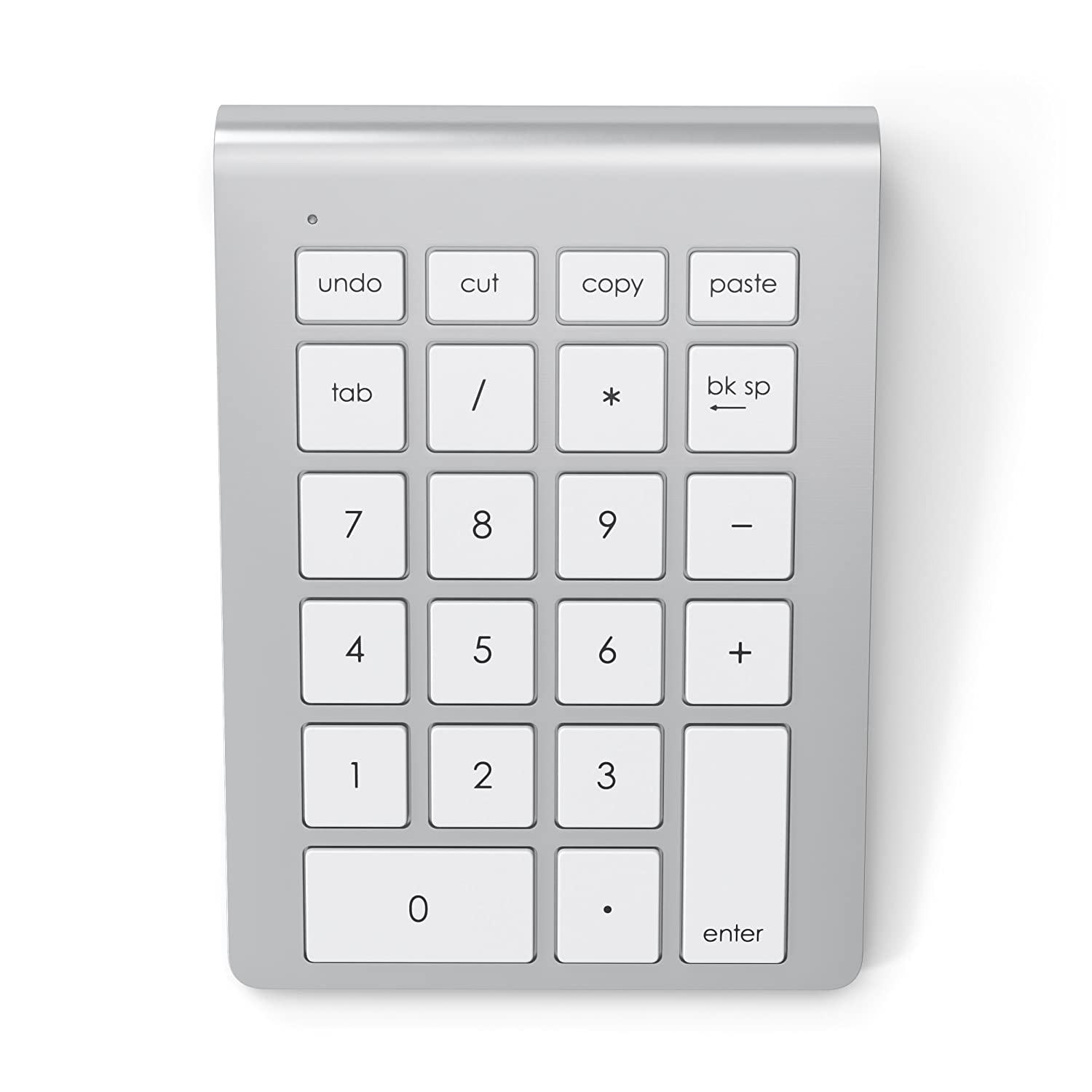 Satechi Portable Aluminum Bluetooth Wireless 22-Key Keypad Keyboard Extension for Data Entry in Excel and Numbers with Keyboard Shortcuts (Cut, Copy, Paste, Undo) - Compatible with Laptops, Macs, PCs (Silver) ST-AWKP