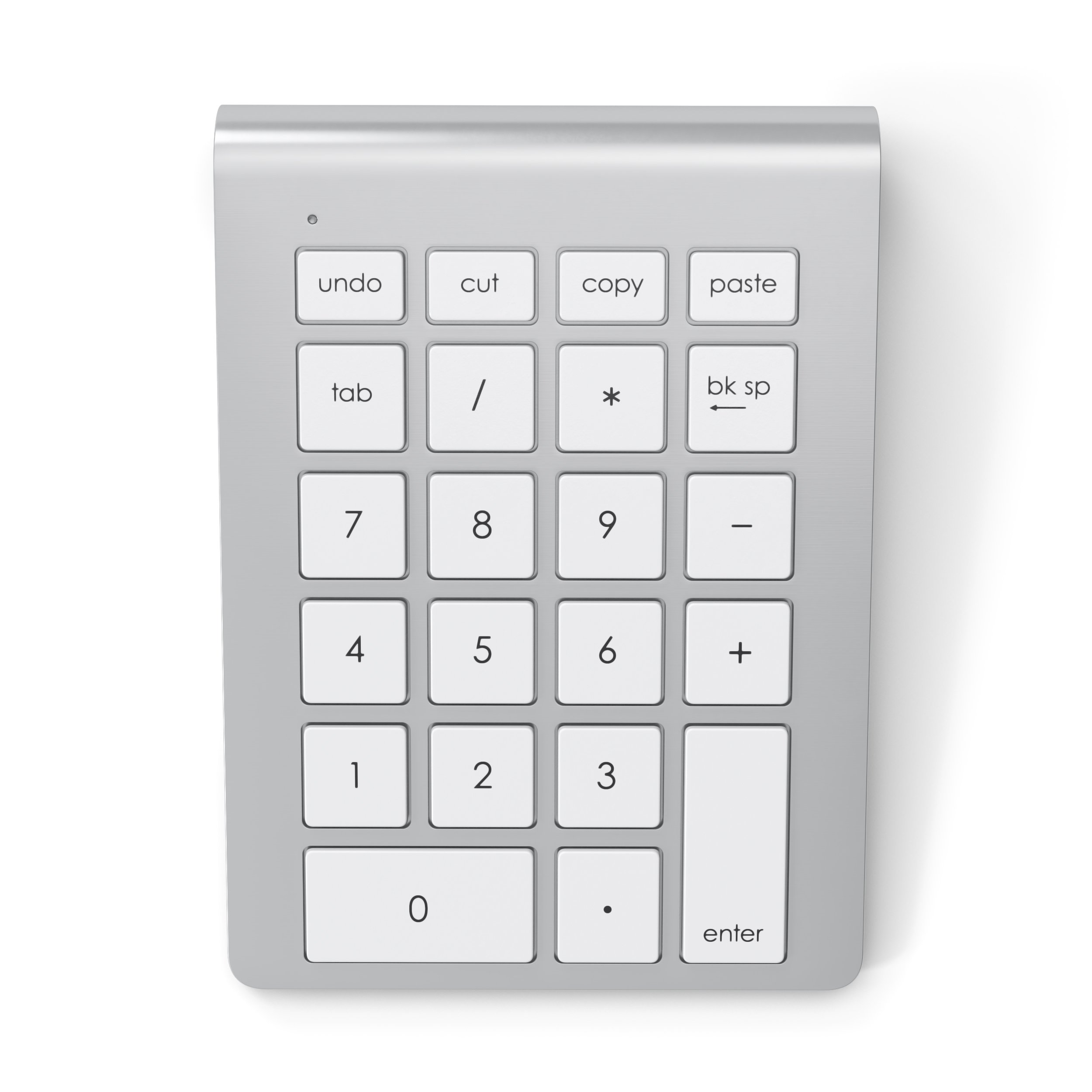 Satechi Portable Aluminum Bluetooth Wireless 22-Key Keypad Keyboard Extension for Data Entry in Excel and Numbers with Keyboard Shortcuts (Cut, Copy, Paste, Undo) for Laptops, Macs, PCs (Silver)
