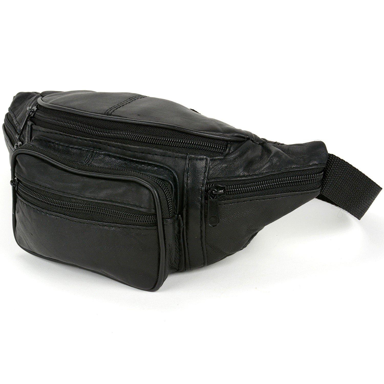 Leather Fanny Pack Waist Bag 6 Pockets Adjustable Belt Strap Travel Pouch Black