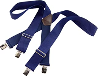 """product image for Holdup Industrial Series 2"""" Wide BLUE XL Work Suspenders with Non-elastic Straps and Jumbo Silver No-slip Clips"""