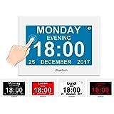 """Horloge calendrier numérique avec 8"""" écran tactile, réveil parlant électroniques avec date et heure pour Alzheimer, démence, personnes âgées / 8 alarme de iGuerburn (blanc)"""