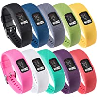 (Large, 10PCS Bands) - Band for Garmin Vivofit 4, Soft Silicone Replacement Watch Band Strap for Garmin Vivofit 4 Activity Tracker, Small, Large, Ten Colours