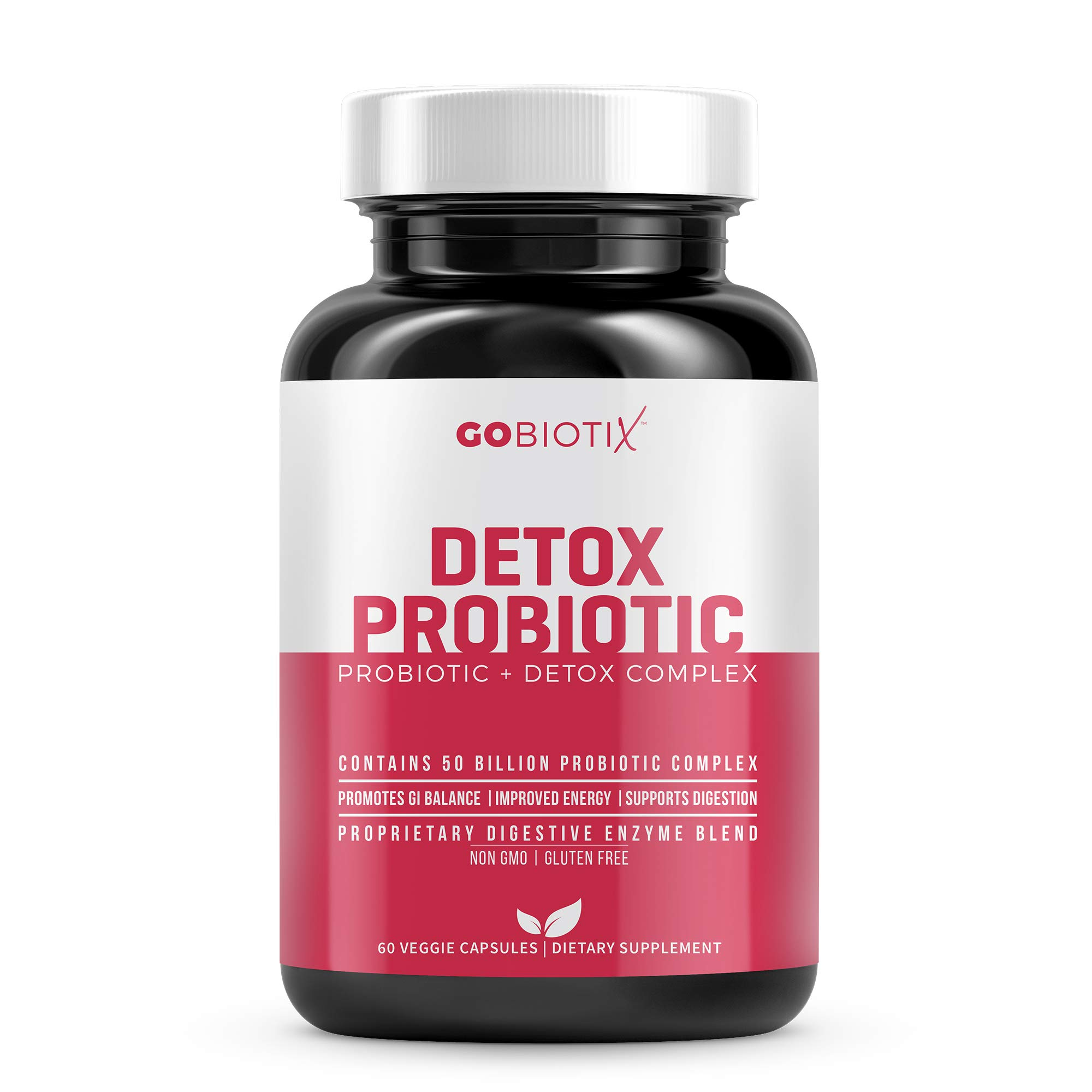 GoBiotix Detox Probiotic | 50 Billion CFU of Probiotics with Prebiotics and Digestive Enzymes to Promote Gut and Liver Health | Ultimate Flora Probiotic for Women and Men | Shelf Stable, 60 Vegan Caps