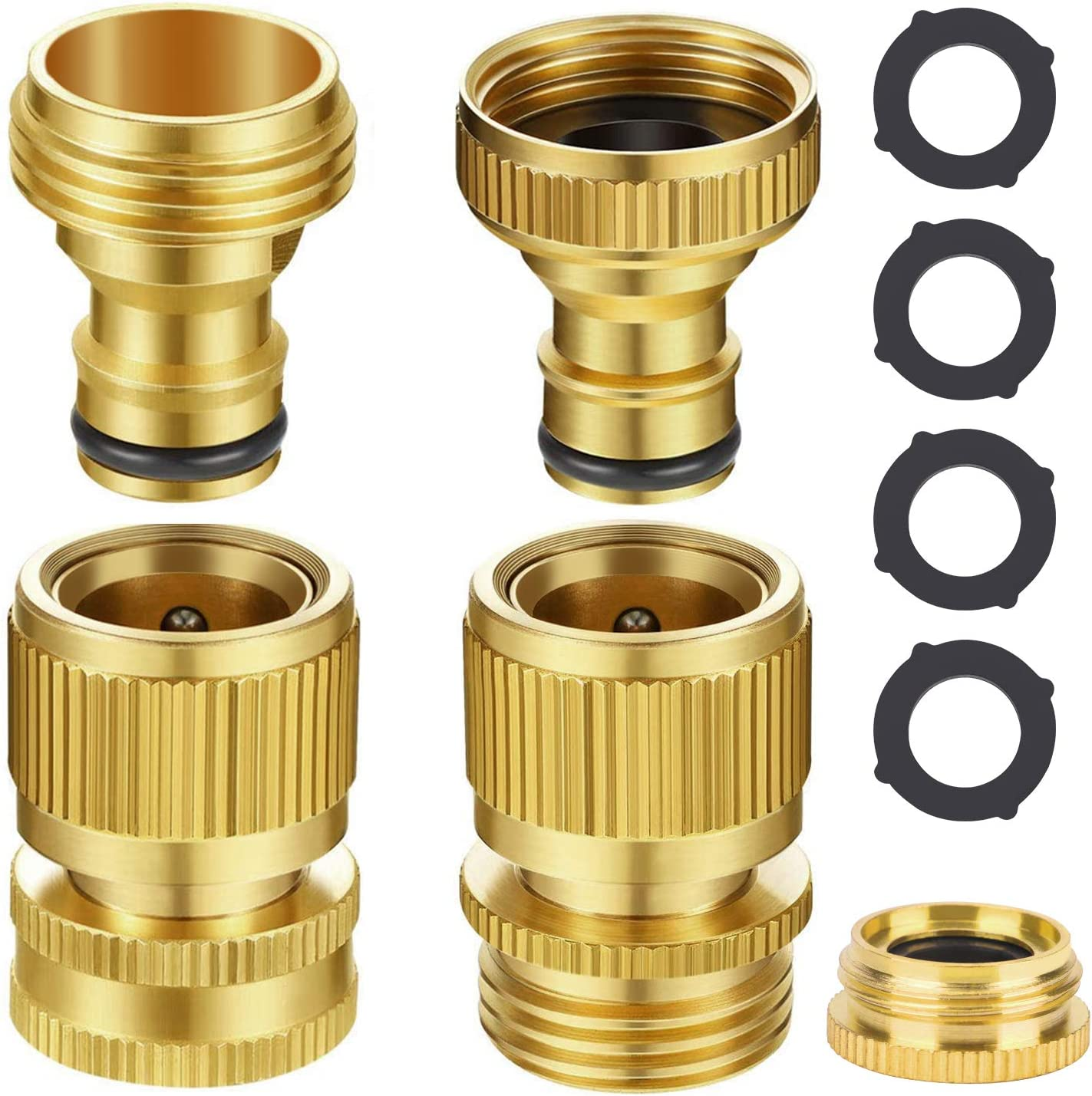 Essager Garden Hose Quick Connect, 3/4 Inch Solid Brass Female and Male Connectors to Brass Female and Male Nipples Garden Hose Fitting Water Hose Connectors